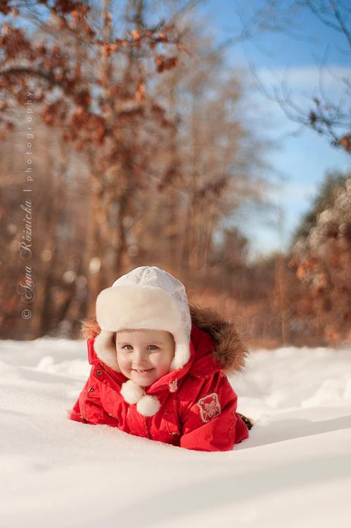 Dziecięca sesja zdjęciowa zimą